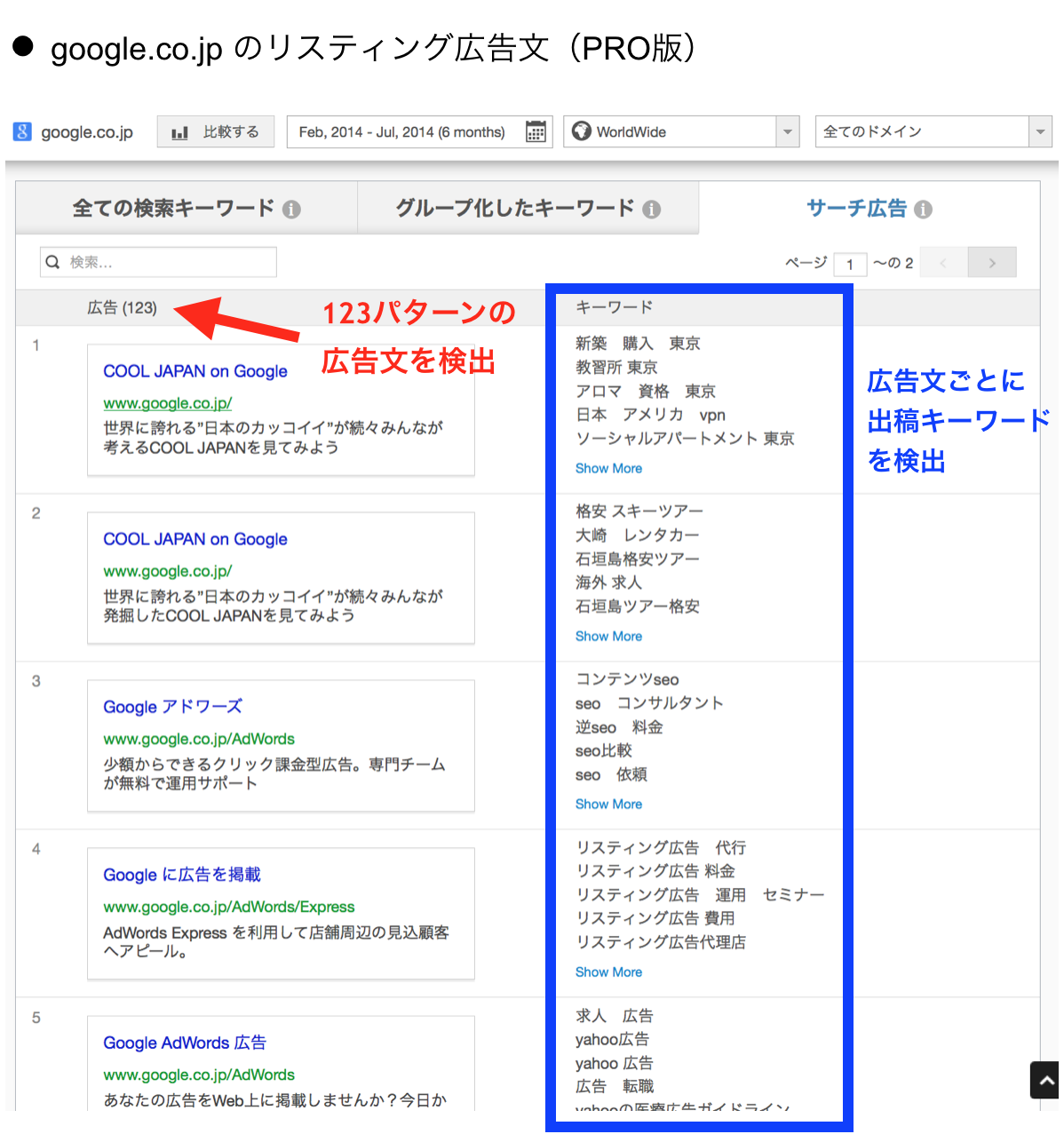 google.co.jp のリスティング広告文(PRO版)