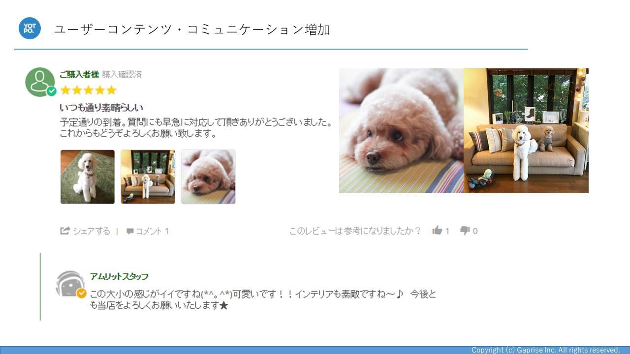 商品レビューと一緒にペットの写真も投稿されています