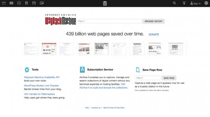過去のWebページを検索・閲覧できるWayBackMachine